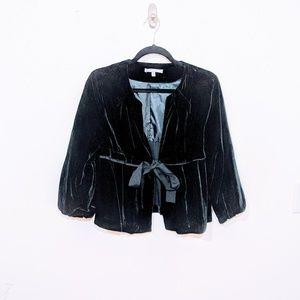 NY Collection Black Velvet Cropped Swing Jacket